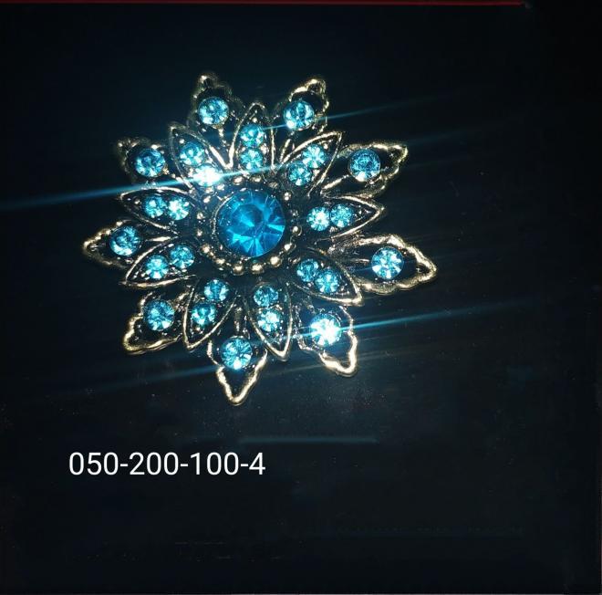 Брошь с камнями 28 шт. камней на брошке. брошка синяя. брошь с синим