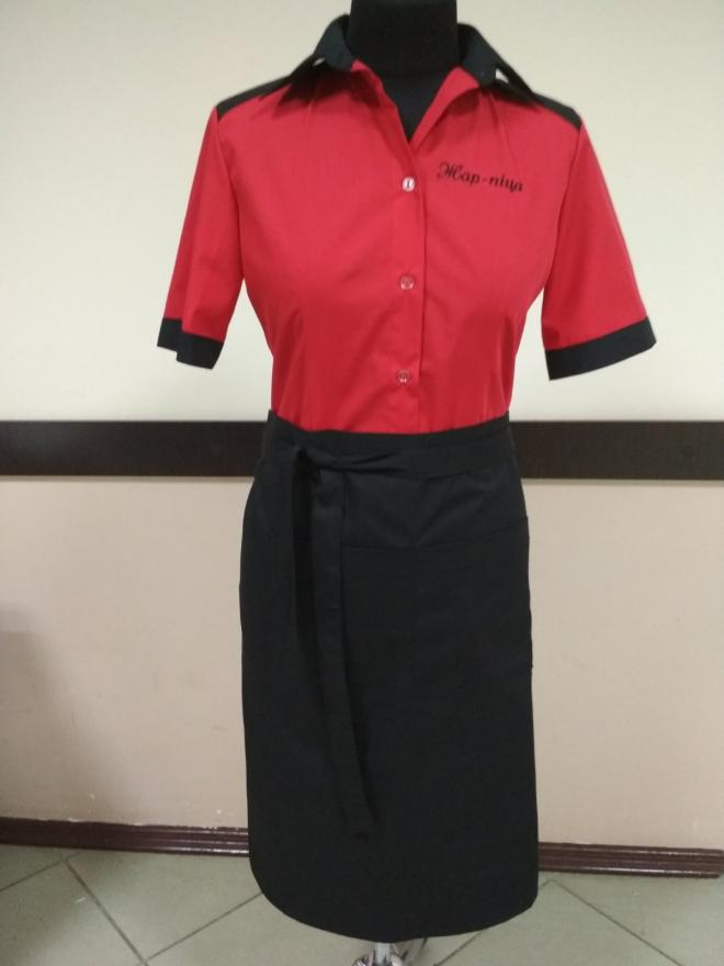 Форма для официантов блуза и фарту,  спецодежда для сферы обслуживания