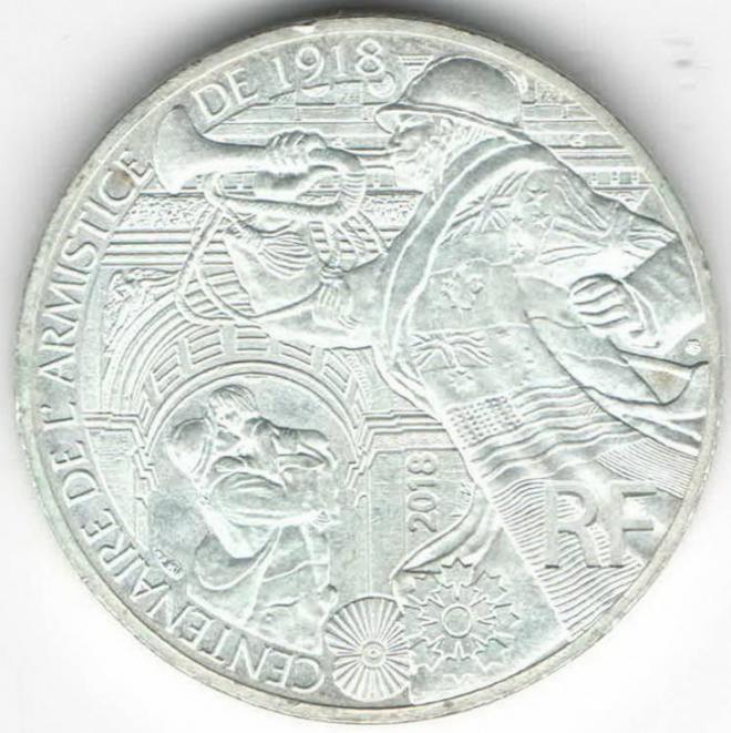 Франция 10 евро 2018 WWI-Первая Мировая Война Серебро