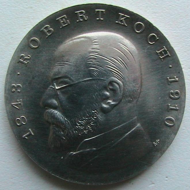 ГДР 5 марок 1968 Роберт Кох