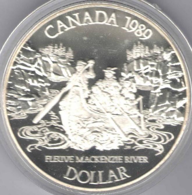 Канада 1 доллар 1989 Река Маккензи Серебро Пруф Банк-комплект