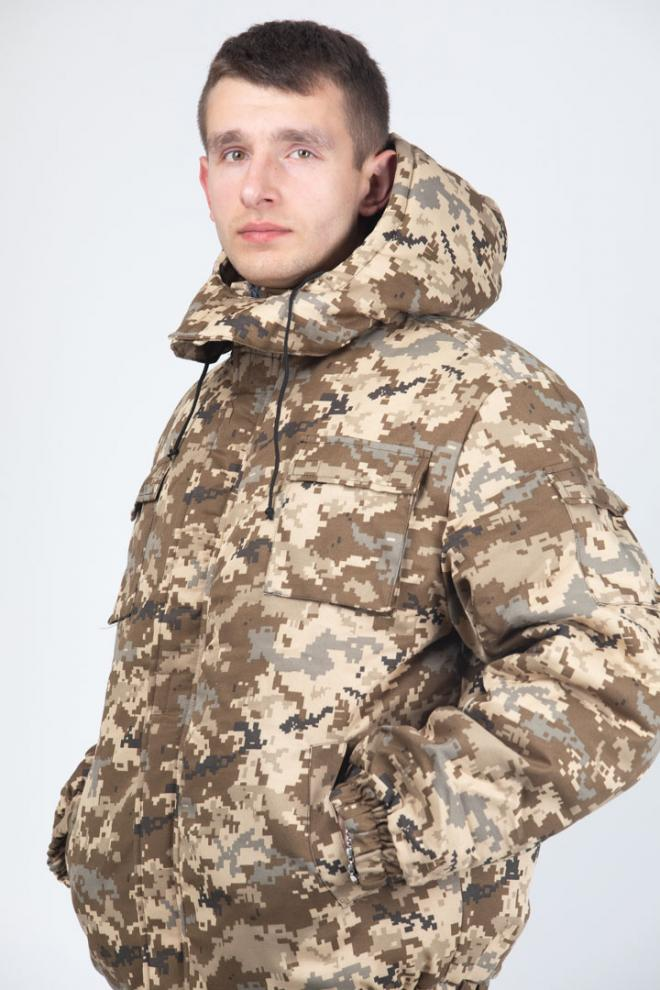 Куртка утепленная камуфлированная для военных, камуфляж Цифра
