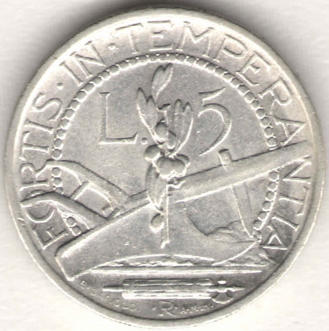 Сан-Марино 5 лир 1935 Серебро