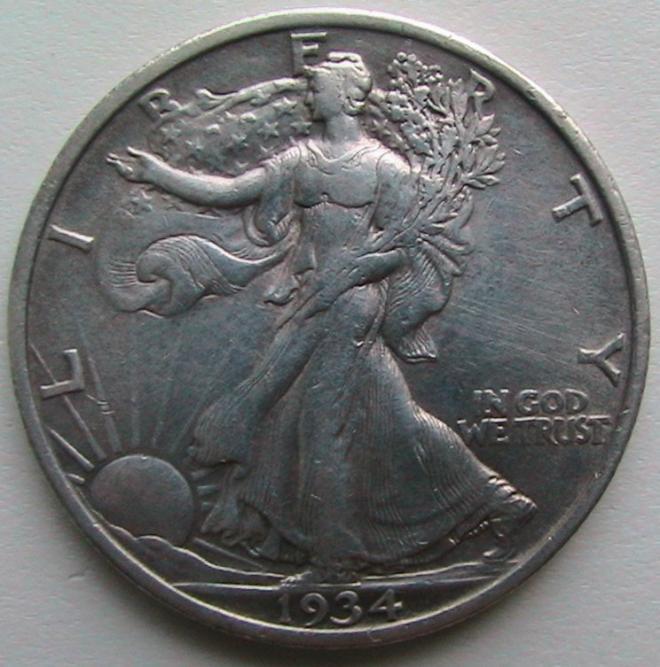 США ½ Доллара 1934 Филадельфия Walking Liberty Half Dollar Серебро