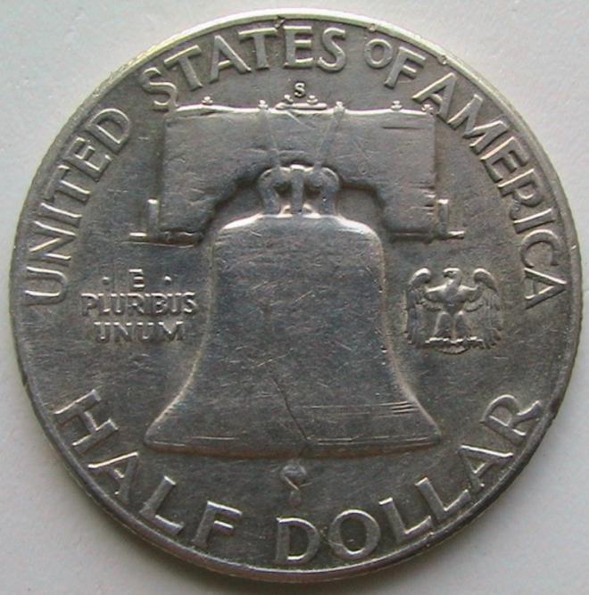 США ½ доллара 1951 S Franklin Half Dollar Серебро Сохран