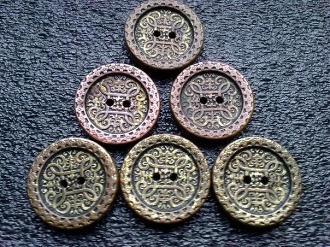 Старинные латунные пуговицы, 3 штук, диаметр 25 мм