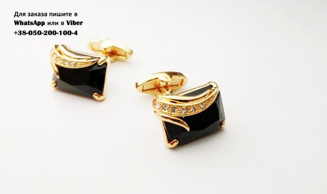 Золотистые запонки с черным камнем. запонки с агатом