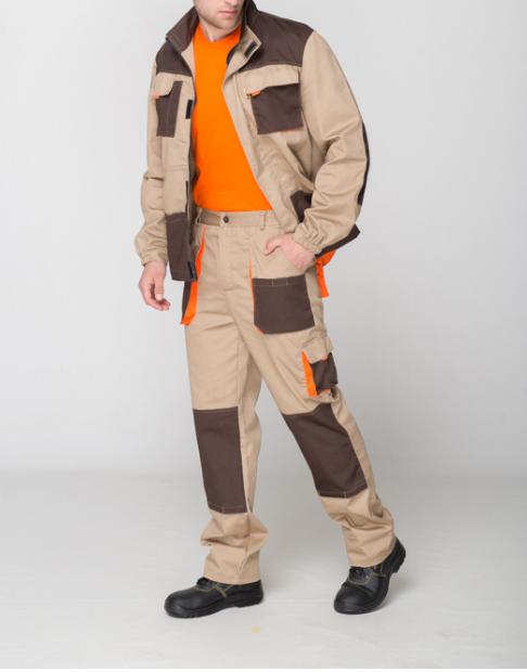 Брюки и куртка, костюм рабочий,коричнево-бежевый, саржа